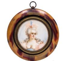 19th Century Painted Tortoise Shell Pendant W602