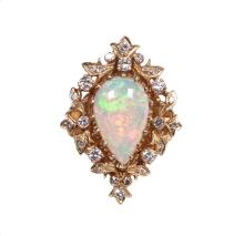 14kt YellowGold 2.30ct Opal&Diamond Ring W5165