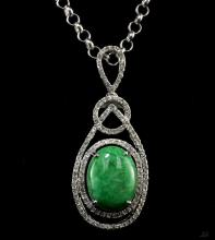 6.90ct Emerald and Sapphire Silver Pendant K38J8