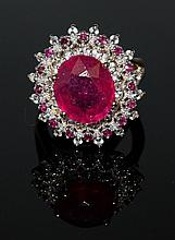 8.46ct Ruby&White; Sapphire Silver Ring K29J9
