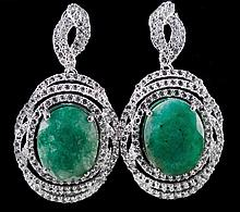 15.92ctw Emerald & Topaz Silver Earrings K43J0