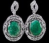 15.92ctw Emerald & Topaz Silver Earrings K43J0
