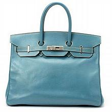 Hermes Blue Jean Birkin 35 Bag W19555