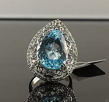 21.39ctw Blue Topaz & Sapphire Silver Ring K41J7