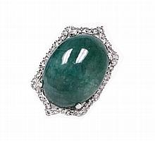 30.23ctw Emerald & Sapphire Silver Ring K29J1