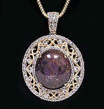 57.75ctw Ruby & Sapphire Silver Pendant K59J1