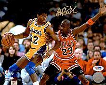Magic Johnson VS Michael Jordan Autograph Photo W150