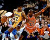 Magic Johnson VS Michael Jordan Autograph Photo W150
