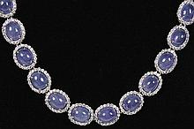 14kt Gold 62.95ctw Tanzanite&Diamond Necklace K15J689