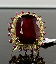 14 YellowGold 21.64ctw Ruby&Diamond Ring K26E99