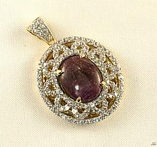 16.21ct Ruby&Sapphire Silver Pendant K32J5