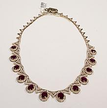 14kt Yellow Gold 27.39ct Ruby & Diamond Necklace K19D333