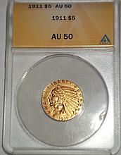 1911 $5 Gold Coin AU 50 GRADED W1311