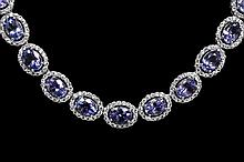 30.40ctw Tanzanite&Sapphire Silver Necklace K27J49