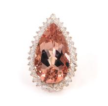 14kt RoseGold 15.64ct Morganite&Diamond Ring K48E59