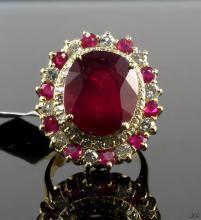 14kt YellowGold 16.20ctw Ruby&Diamond Ring K36J19