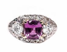 GIA 14kt Gold 2.28ct Sapphire&Diamond Ring W10507