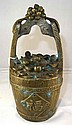 Antique Chinese Bronze Money Basket