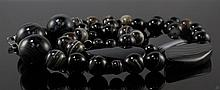 Dyed Black Agate Bead Necklace W301