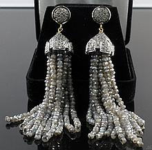 67.50ctw Labradorite 3.80ctw Diamond Earrings W1565