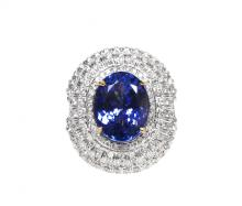 14kt WhiteGold 8.47ct Tanzanite&Diamond Ring K14E623