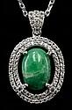 9.00ct Emerald 1.44ctw Sapphire Silver Pendant K23J4