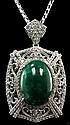 28.44ct Emerald 4.85ctw Sapphire Silver Pendant K51J1