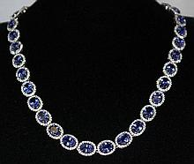 925 Silver 41.82ct Tanzanite 7.5ct Sapphire NK K29J59
