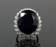 14kt WhiteGold 29.87ct Sapphire & Diamond Ring W8190