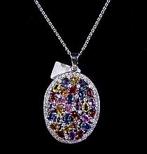 14K White Gold 15.95cts Sapphire⋄ Necklace WL13001