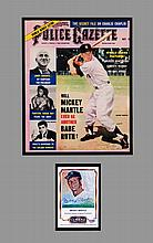 Mickey Mantle Signed Postcard & Matted Magazine W662