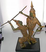 The Battle Between Phra Ram&Thotsakan Bronze Statue W1253