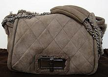 CHANEL Brown Fur Quilted Ladies Handbag W1832