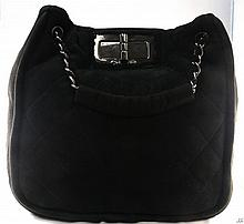 CHANEL Black Suede Purse W3600