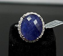 18.45ctw Tanzanite & Sapphire Silver Ring K28J8