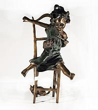 Bronze Girl on Chair w/ Cat W301