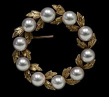 14KT Yellow Gold Mikimoto Pearl Brooch W1815