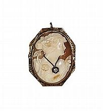 0.07ct Dia Vintage Shell Cameo Brooch W1222