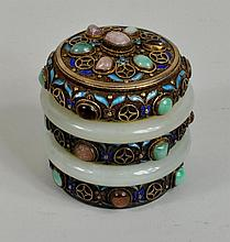 Chinese Silver Gilt Enamel/Jade Mounted Box