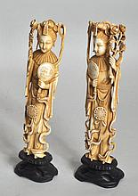 Pair Chinese Carved Ivory Female Figures