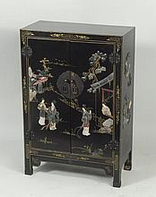Small Asian Lacquered Two Door Cabinet