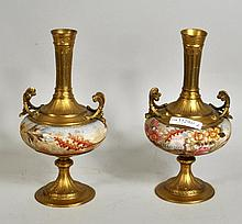 Pair Continental Porcelain/Gilt Metal Mounted Urns