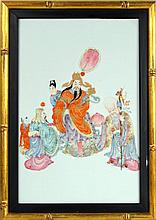 Chinese Polychromed Framed Porcelain Plaque