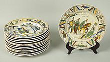 Thirteen Bayeux Faience Plates