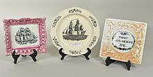 Two Sunderland Porcelain Wall Plaques, Ship Plate