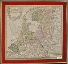 Framed Hand Colored Map of Belgium dated 1748
