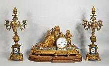 French Three Piece Mantle Clock Garniture