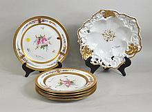 Five Porcelain Hand Painted Floral Plates
