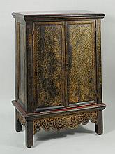 Thai Gilt Decorated Ebonized Tapering Cabinet
