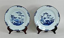 Two Chinese Export Blue & White Porcelain Plates